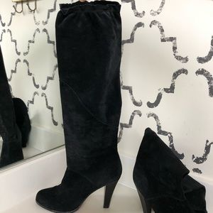 Michael Kors Slouchy Knee High Black Suede Boots